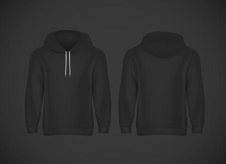 Men black hoody. Realistic mockup. Long sleeve hoody template on background.