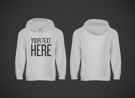Men gray hoddy. Realistic mockup with brand text for advertising. Long sleeve hoody template on background.