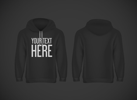 Men black hoddy. Realistic mockup with brand text for advertising. Long sleeve hoody template on background.