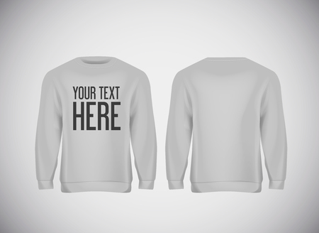 Men gray hoddy. Realistic mockup with brand text for advertising. Long sleeve hoody template on background. Illustration