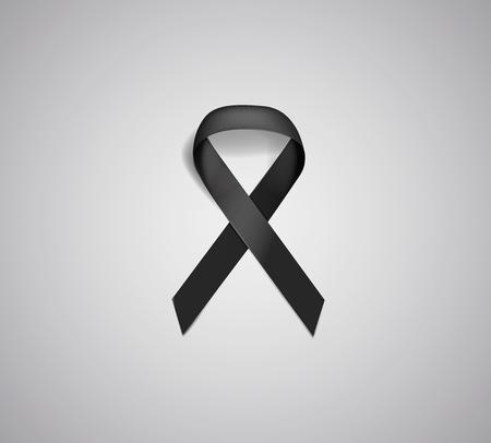 Black realistic awareness ribbon on white background. Mourning and melanoma symbol.