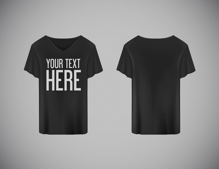 Men blackT-shirt. Realistic mockup whit brand text for advertising. Short sleeve T-shirt template on background.