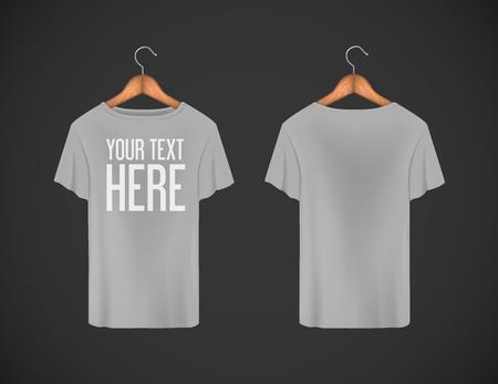 Men gray T-shirt. Realistic mockup whit brand text for advertising. Short sleeve T-shirt template on background. Vektoros illusztráció