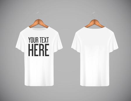 Herren weißes T-Shirt. Realistisches Modell mit Markentext für die Werbung. Kurzarm-T-Shirt-Vorlage im Hintergrund.