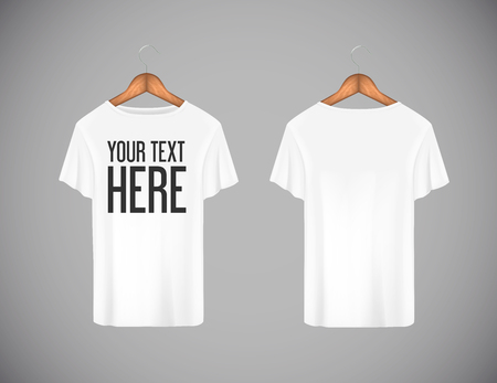 Men white T-shirt. Realistic mockup whit brand text for advertising. Short sleeve T-shirt template on background.