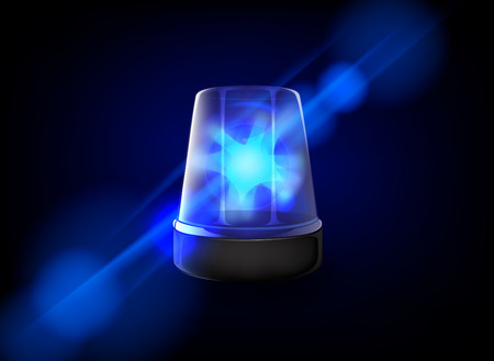 Blue emergency flashing siren. Vector Banque d'images - 125014205