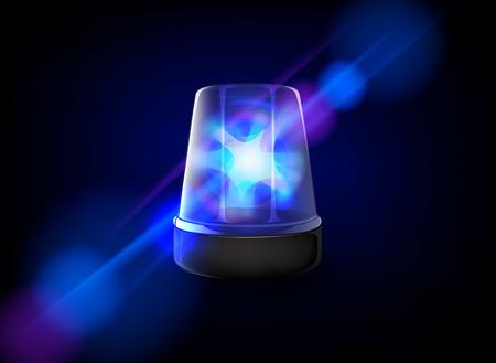 Blue emergency flashing siren. Vector