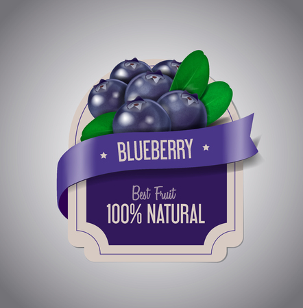 Berry Label with ripe blueberry with green leaves. Blueberry jam label design template. Ilustración de vector