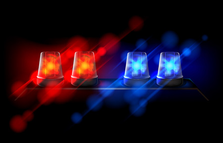 Police beacon. Red and blue emergency flashing siren. Banque d'images - 125014209