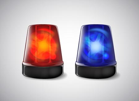 Balise de police. Sirène bleue et rouge clignotante d'urgence.