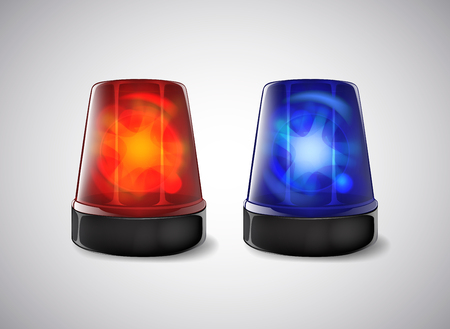 Police beacon. Blue and red siren flashing emergency light. Banque d'images - 125014214