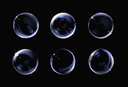 Realistyczne przezroczyste bańki mydlane na czarnym tle. Zestaw baniek mydlanych z odblaskami. Wektor ilustracja pęcherzyków. Ilustracje wektorowe