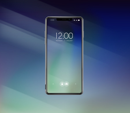 New front smartphone, phone prototype with advertisment background. Mobile with background and hour screen. Mockup model for add, branding. Illustration