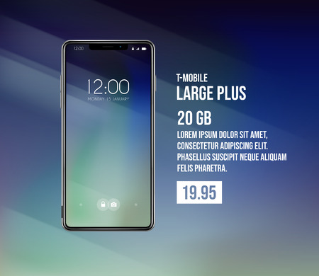 New front smartphone, phone plans concept prototype with advertisment background. Mobile with background and hour screen. Mockup model for add, branding.