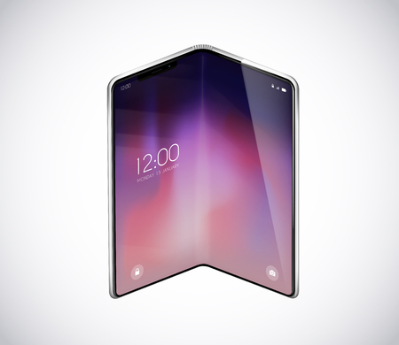 New foldable smartphone concept, prototype with advertisment background. Mobile with background and fold flexible screen. Mockup model for add, branding.