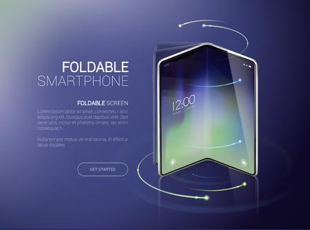 Nuevo concepto de smartphone plegable, prototipo con fondo publicitario y pantalla plegable y flexible. Móvil con fondo y pantalla plegable flexible. Modelo de maqueta para agregar, marca. Ilustración de vector