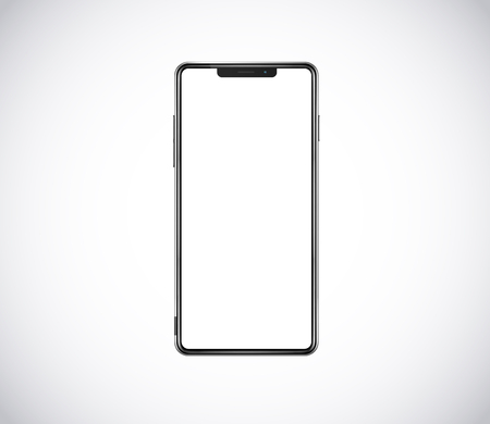 New front smartphone, phone prototype isolated. Mobile with blank white screen. Mockup model.