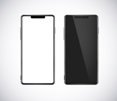 New fron smartphone, phone prototype isolated. Mobile with blank white and black screen. Mockup model.