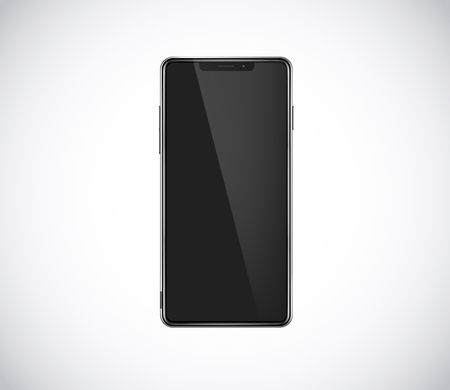 New fron smartphone, phone prototype isolated. Mobile with blank black screen. Mockup model. Stockfoto - 131655399