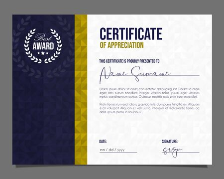Professional certificate. Template diploma with luxury and modern pattern background. Achievement certificate. Stock Illustratie