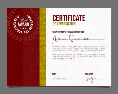 Professional certificate. Template diploma with luxury and modern pattern background. Achievement certificate. Illustration