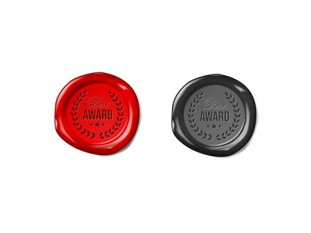 Red an black wax seal on white background. Certificate stamp.