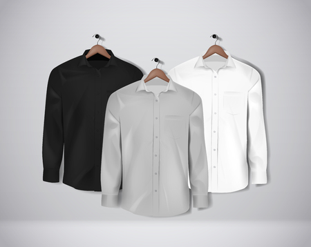 Black, white and gray color formal shirt set. Blank dress shirt with buttons.