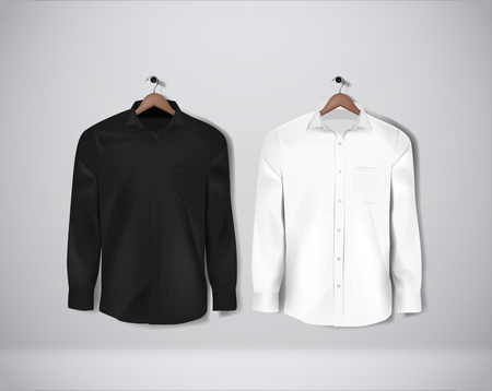Black and white color formal shirt. Blank dress shirt with buttons.