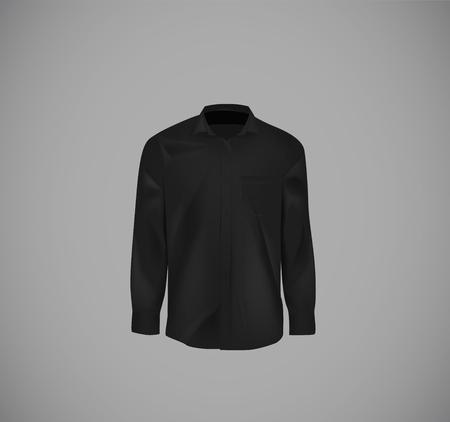 Black color formal shirt. Blank dress shirt with buttons.  イラスト・ベクター素材