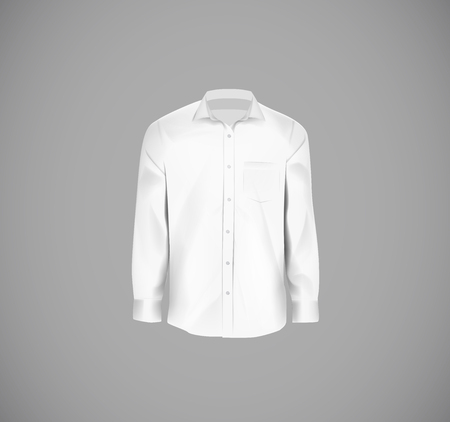 White color formal shirt. Blank dress shirt with buttons.