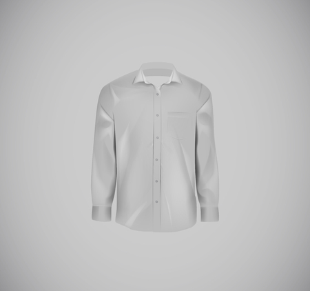 Gray color formal shirt. Blank dress shirt with buttons.  イラスト・ベクター素材