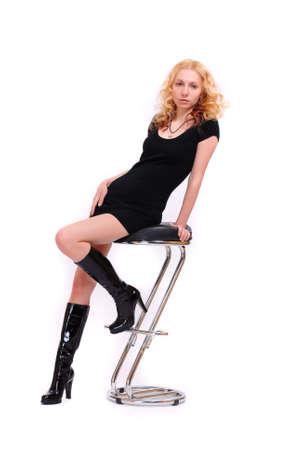 A girl is in a little black dress photo