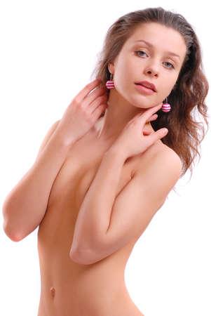 bare girl: Bare girl on a white background
