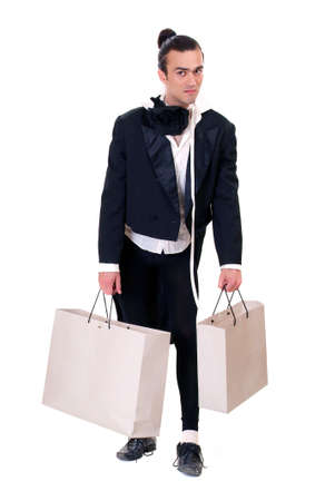 comically: Comically looking man with a bag on a white background