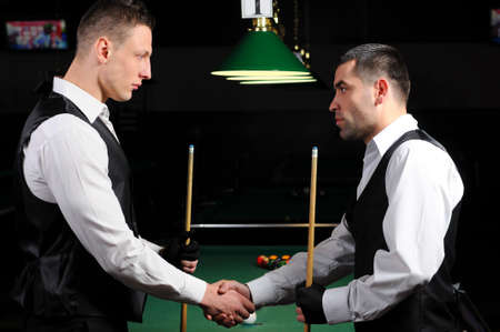 poolball: young professional people are welcome to play snooker  Billiards  Stock Photo