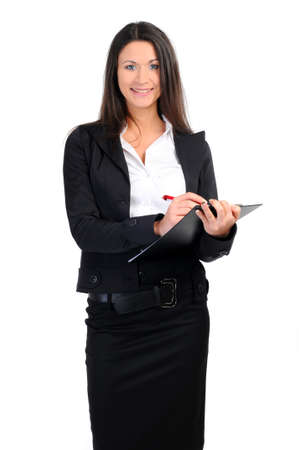 portrait of business woman with documents on white photo