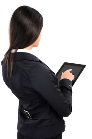 business woman with tablet on white background photo