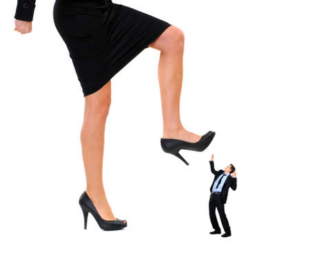 crush: woman shoe stepping on business men concept on white
