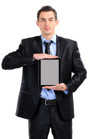 businessman with tablet on white photo