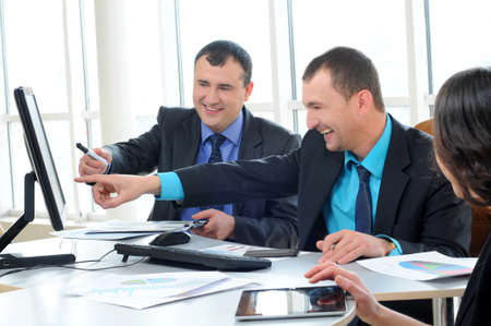 achivement: Group of people on business project presentation Stock Photo