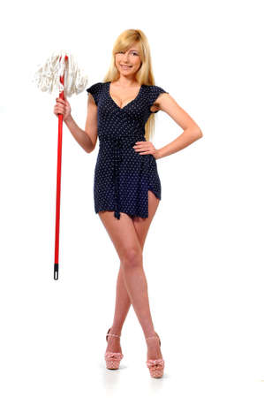 Beautiful woman having fun with the mop  Isolated on white background  photo