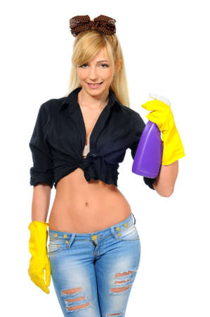 rubber glove: Cleaning woman ready for spring cleaning smiling with rubber gloves and cleaning products  isolated on white background  Stock Photo