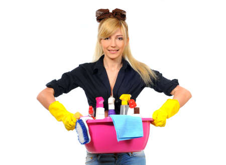 charlady: Young smiling cleaner woman  Isolated over white background