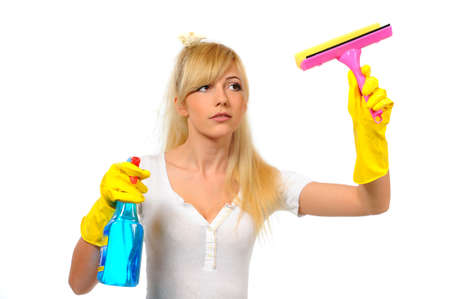 charlady: Housewife cleaner woman washing a window Stock Photo
