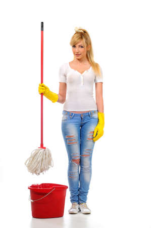 mopping: Cleaning woman washing floor with mop and bucket during spring cleaning