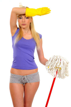charwoman: Smiling housewife cleaner  Isolated over white background