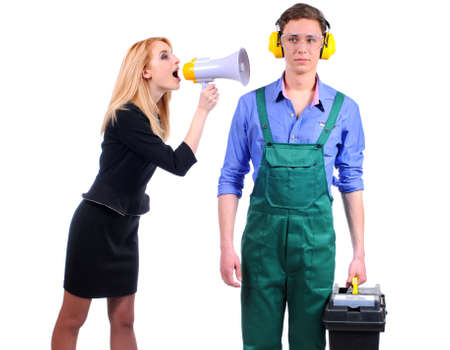 woman yells in megaphone on the plumbing on a white background photo