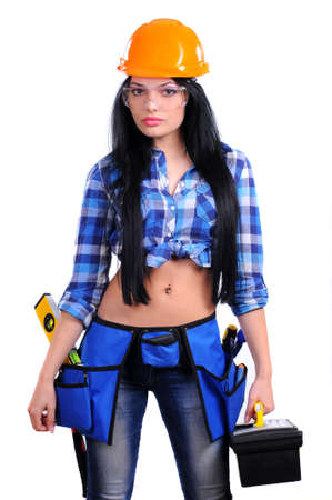girl in a helmet with a box for tools photo