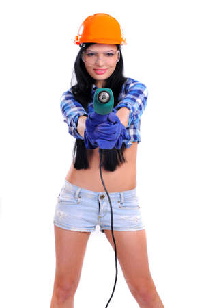 Young Woman Construction with Drill  Isolated on White photo