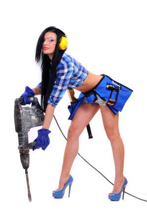 Pre�lufthammer: sexy junge Frau Bauarbeiter Lizenzfreie Bilder